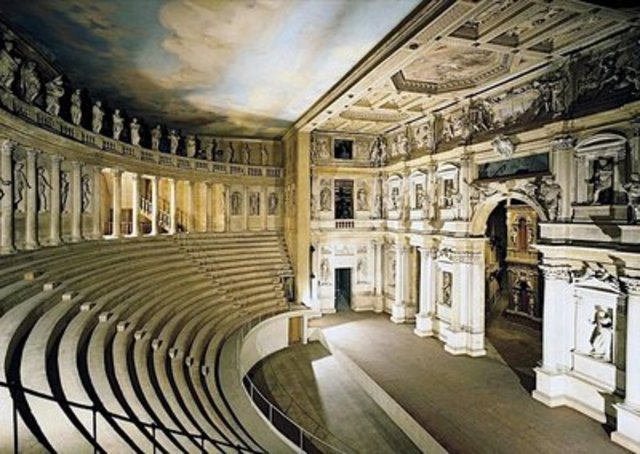 The Olympic Theatre, designed by Andrea Palladio, is inaugurated in Vicenza.