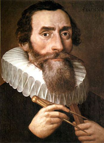 Johannes Kepler inscribes geometric solid construction of universe