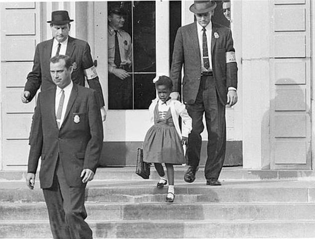 Ruby Bridges attends an all-white school