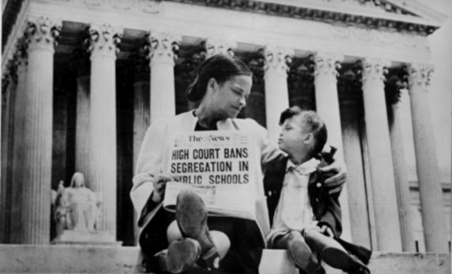 Supreme Court rules on Brown v. Board of Education