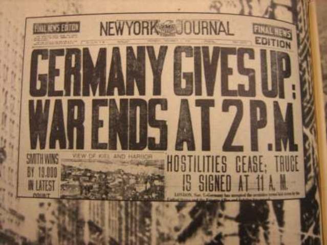 World War I ends with German defeat.
