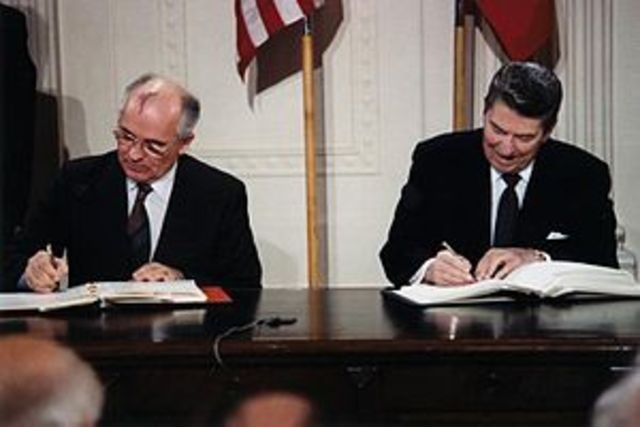 Reagan and Gorbachev agree to remove all medium and short-range nuclear missiles by signing treaty