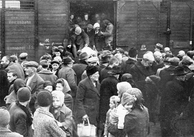 Hungarian Jews sent to Auschwitz