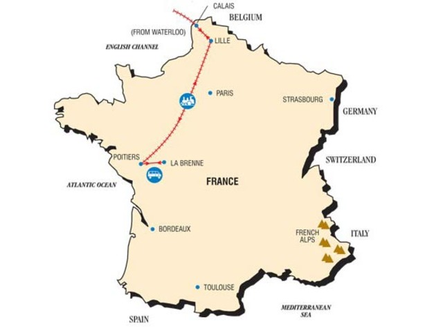 the map of  the tour to france