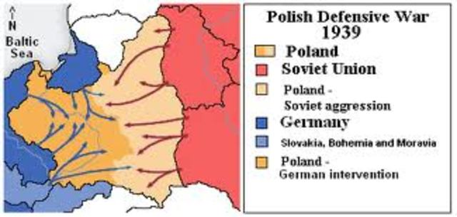 Stalin sends troops to occupy the Eastern half of Poland