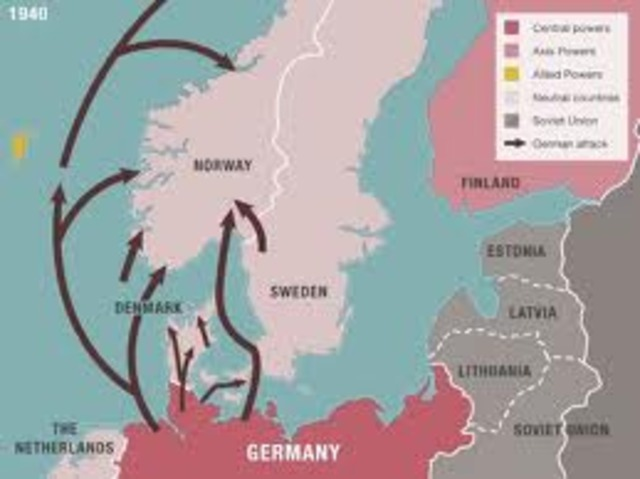 Hitler launches a suprise invasion of Denmark and Norway