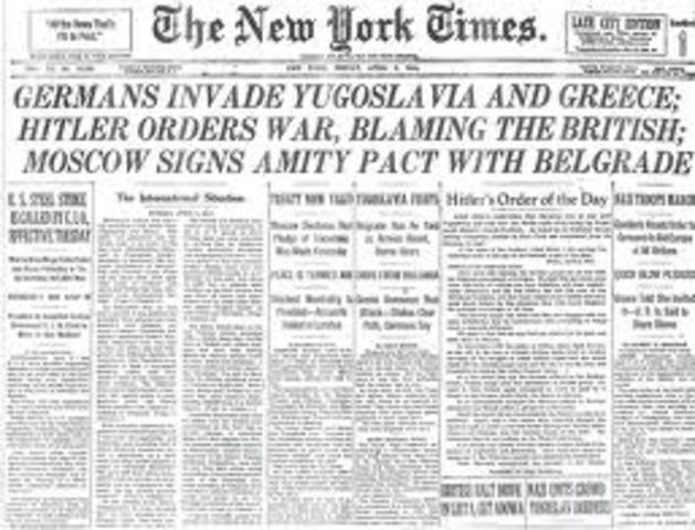 Hitler invades Yugoslavia and Greece