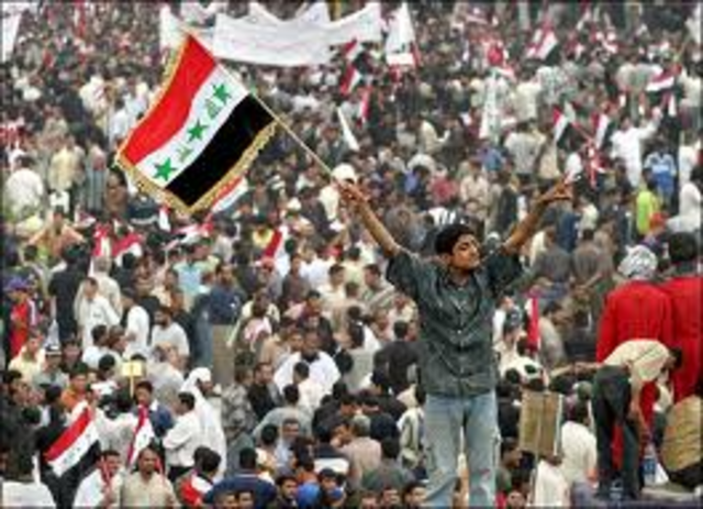 Tens of thousands of Iraqis gather to protest U.S. presence in Iraq