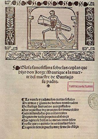 Escritura de las Coplas a las Muerte de su Padre de Jorge Manrique