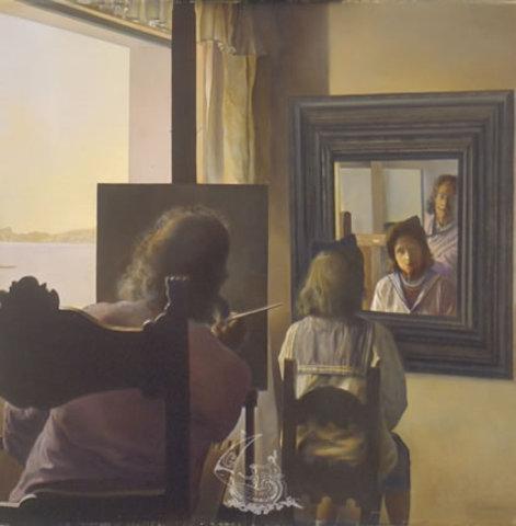 Salvador Dali - Dalí de dos peignant Gala de dos éternisée par six cornées virtuelles provisoirement réfléchies dans six vrais miroirs