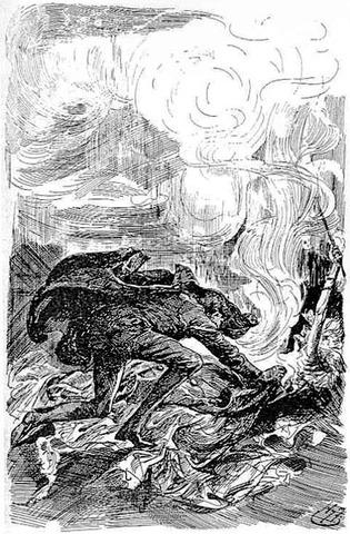 Ms. Havisham is burned but saved by Pip.
