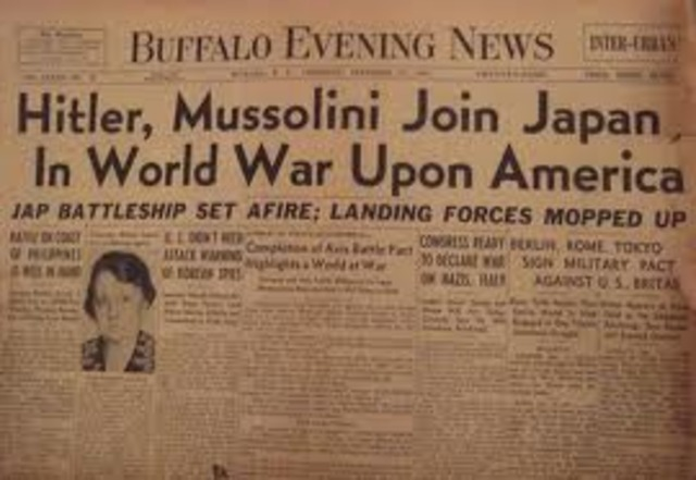 War Declared on U.S. by Germany and Italy