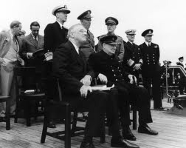 Roosevelt and Churchill announce the Atlantic Charter.