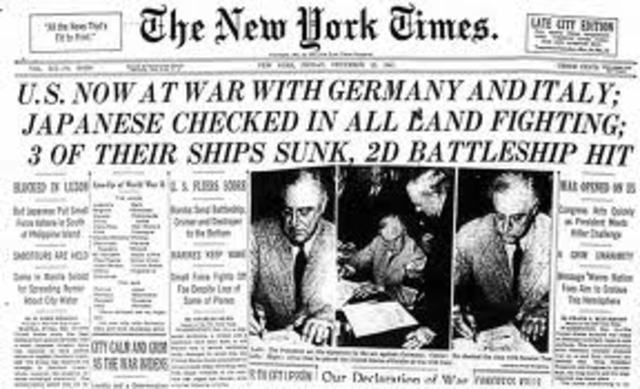 Germany and Italy declare war on the United States United States formally declares declares war on Germany and Italy.