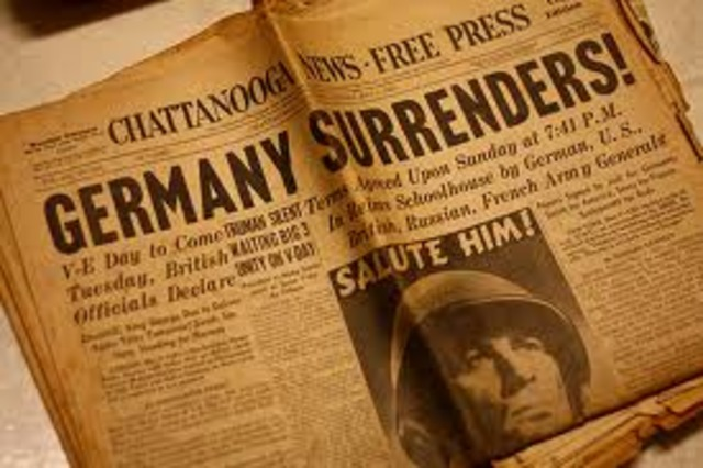 Germany surrenders to the western Allies