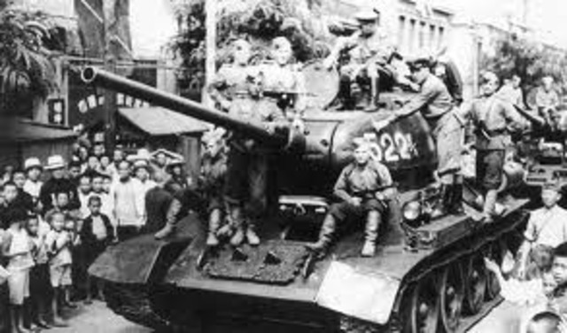 The Soviet Union declares war on Japan and invades Manchuria.