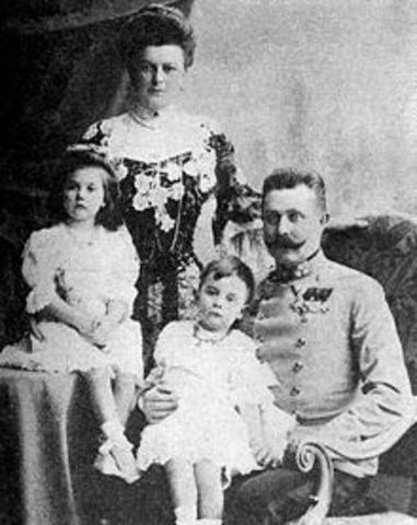Archduke Francis Ferdinand heir to the Austria-Hungary throne and his wife are assassinated by Serbian Nationalist in Sarajevo