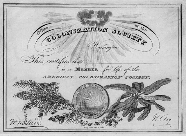 The American Colonization Society forms