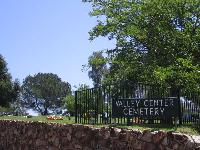 First burial at Valley Center Cemetery