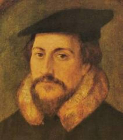 """John Calvin published """"Institutes of the Christian Religion"""""""