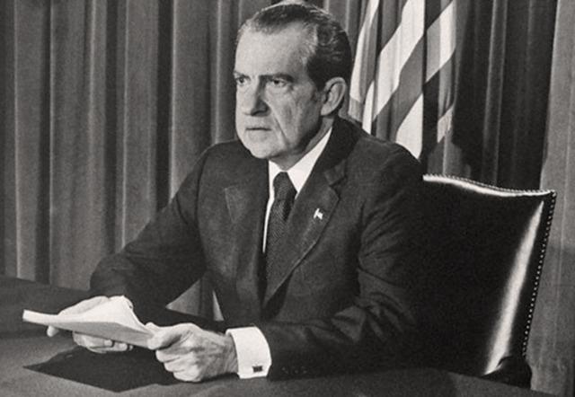 President Richard Nixon resigns from office.
