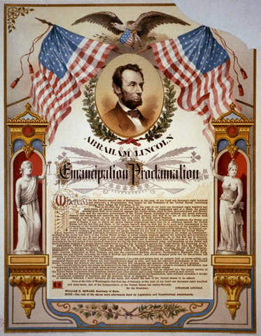 Lincoln gives the Emancipation Proclamtion