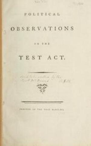 Britain passes Test Acts