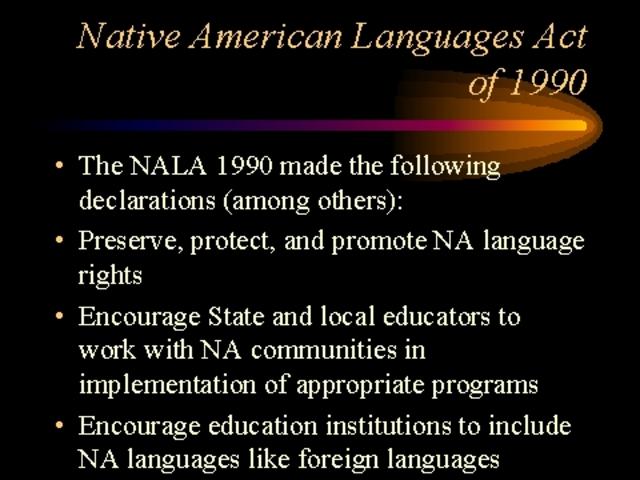 1990 Native American Language Act