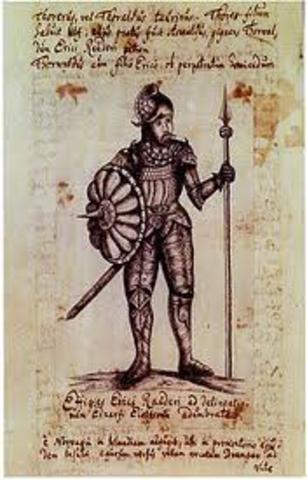 Leif Eriksson, fils d'Erik le Rouge, explore les côtes de l'Amérique du Nord.