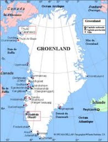 Le chef viking Erik le Rouge découvre le Groenland.