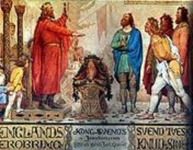 Knud (Canute), roi des Danois, règne aussi sur l'Angleterre.