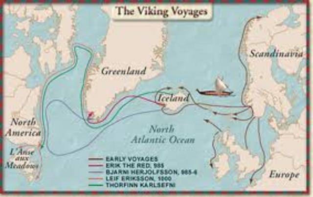 1000 -Leif Eriksson, fils d'Erik le Rouge, explore les côtes de l'Amérique du Nord.