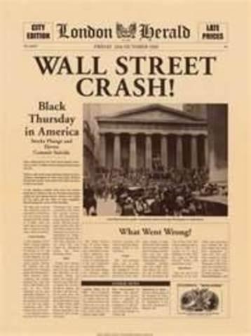 US stock market crashes starting the Great Depression