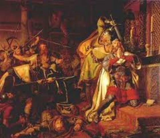 1016 -Knud (Canute), roi des Danois, règne aussi sur l'Angleterre.