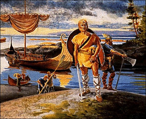 Leif Eriksson,fils d'Erik le Rouge,explore les cotes de l'Amerique du Nord