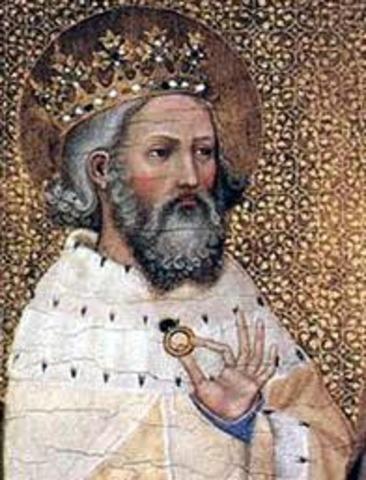 Édouard le Confesseur règne sur l'Angleterre, avec l'appui des Danois
