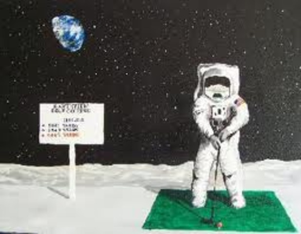 First man to hit a golf ball on the moon