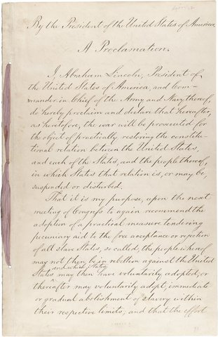 Preliminary Emancipation Proclamation