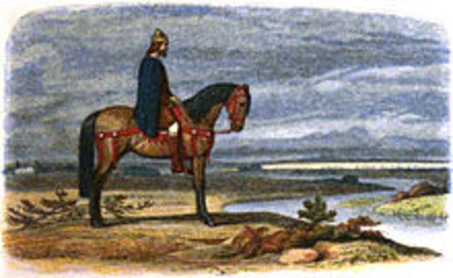 Edouard le Confesseur regne sur l'Angleterre, avec l'appui des Danois.
