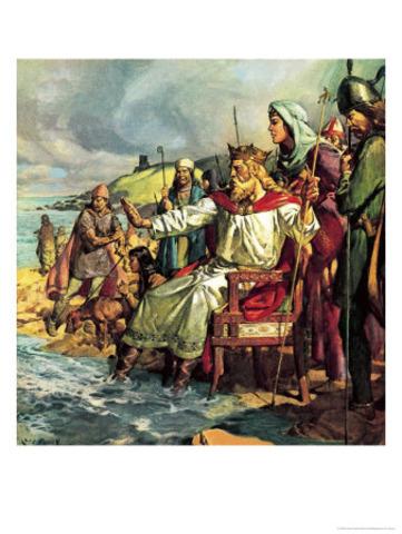 Knud (Canute), roi des Danois, regne aussi sur Angleterre