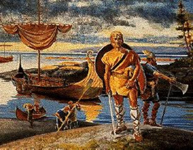 Leif Erikkson, Fils d'Erik le Rouge, explore les cote de l'Amerique de Nord