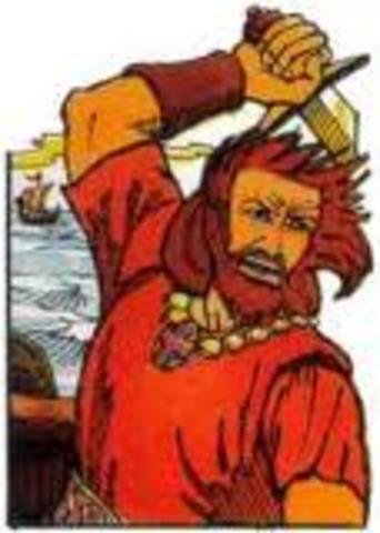 Le chef viking Erik le rouge découvre le Greonland