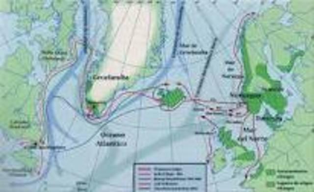Leif Eriksson ,fils 'Erik le Rouge explor les cotes de l'Amerique du Nord