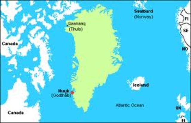 Le chef Vikings Erik le Rouge découvre le Groenland