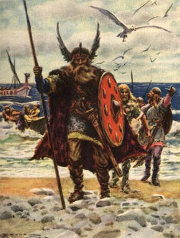 Le chef viking Erk le Rouge découvre le groenland.