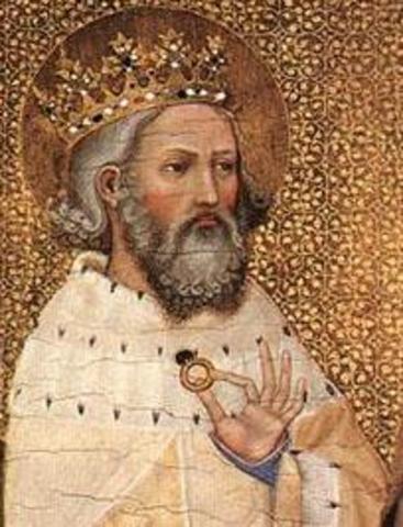 Edouarde le Confesseur regne sur l'Angleterre, avec l'appui des Danois