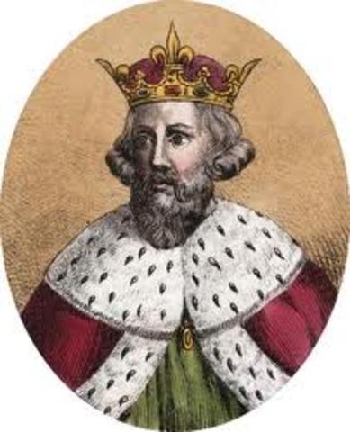 Alfred le Grand (a droite) met fin a l'avance des Danois en Angletere