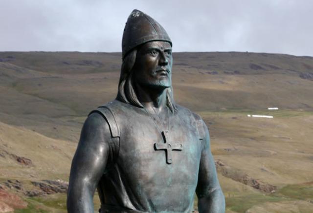 la fils d'Erik le rouge, Leif Eriksson, explore les cotes de l'Amerique du Nord