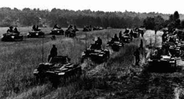 Invasion of low countries and France begins (Blitzkrieg used)