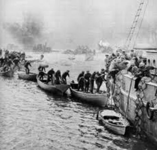 begining of evacuation of Dunkirk